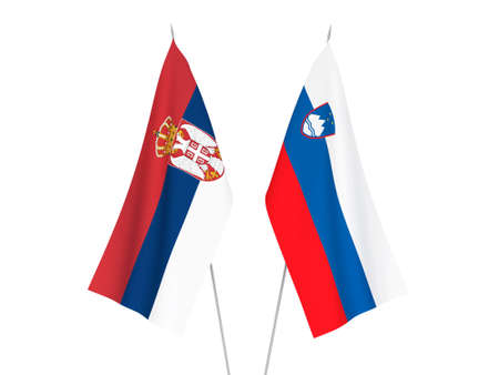 National fabric flags of Slovenia and Serbia isolated on white background. 3d rendering illustration. Stok Fotoğraf