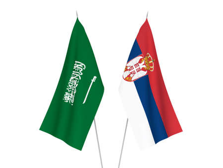 National fabric flags of Saudi Arabia and Serbia isolated on white background. 3d rendering illustration.