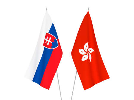 National fabric flags of Hong Kong and Slovakia isolated on white background. 3d rendering illustration.