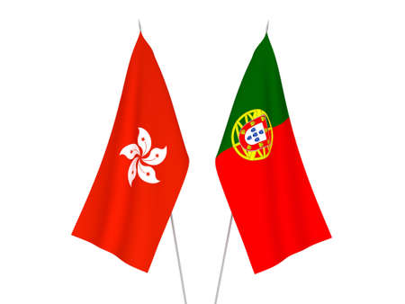 National fabric flags of Hong Kong and Portugal isolated on white background. 3d rendering illustration.