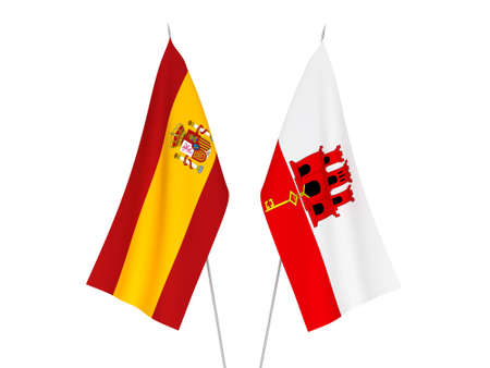 National fabric flags of Spain and Gibraltar isolated on white background. 3d rendering illustration.