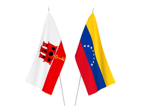 National fabric flags of Gibraltar and Venezuela isolated on white background. 3d rendering illustration.