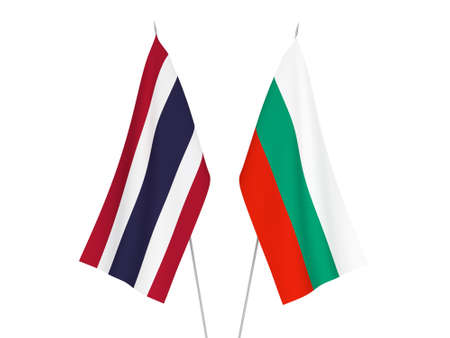 National fabric flags of Bulgaria and Thailand isolated on white background. 3d rendering illustration.