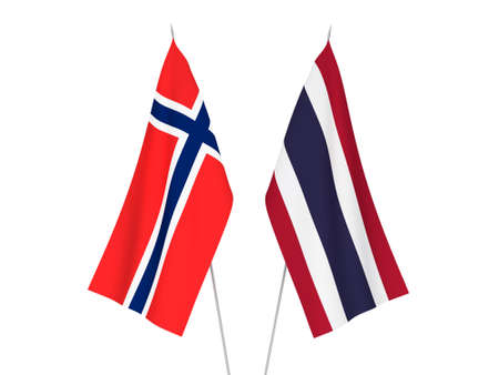 National fabric flags of Norway and Thailand isolated on white background. 3d rendering illustration. Stok Fotoğraf