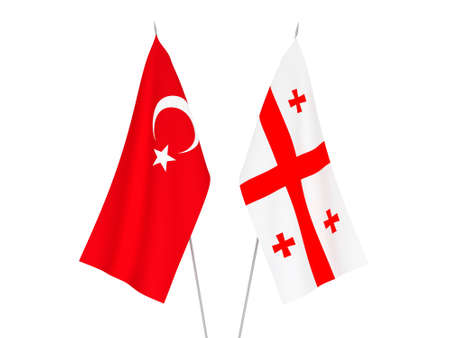 National fabric flags of Georgia and Turkey isolated on white background. 3d rendering illustration.