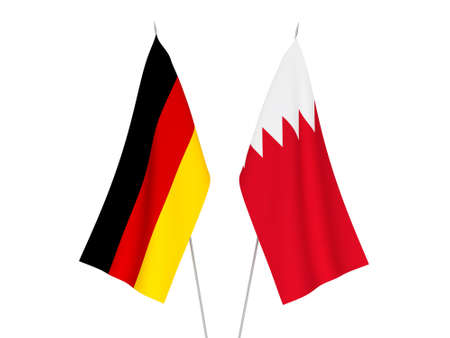 National fabric flags of Germany and Bahrain isolated on white background. 3d rendering illustration.