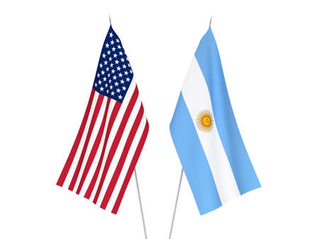 National fabric flags of America and Argentina isolated on white background. 3d rendering illustration.