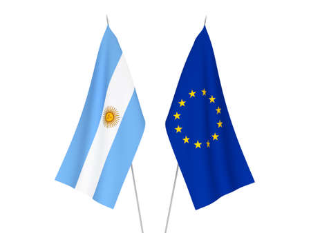 National fabric flags of European Union and Argentina isolated on white background. 3d rendering illustration. Stok Fotoğraf