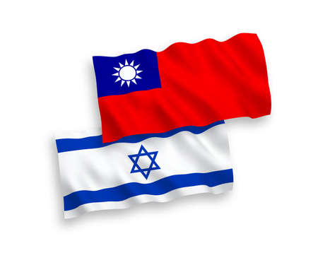 National vector fabric wave flags of Taiwan and Israel isolated on white background. 1 to 2 proportion.