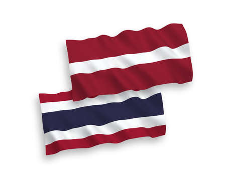 National vector fabric wave flags of Latvia and Thailand isolated on white background. 1 to 2 proportion.