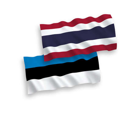 National vector fabric wave flags of Estonia and Thailand isolated on white background. 1 to 2 proportion.