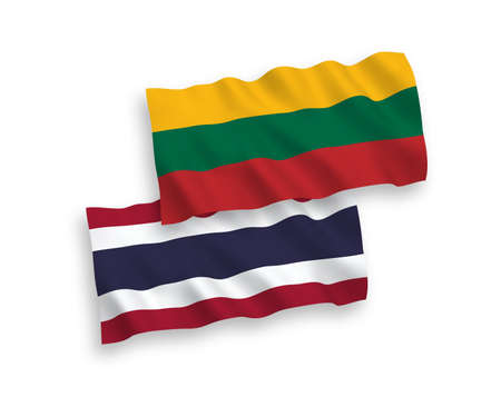 National vector fabric wave flags of Lithuania and Thailand isolated on white background. 1 to 2 proportion.