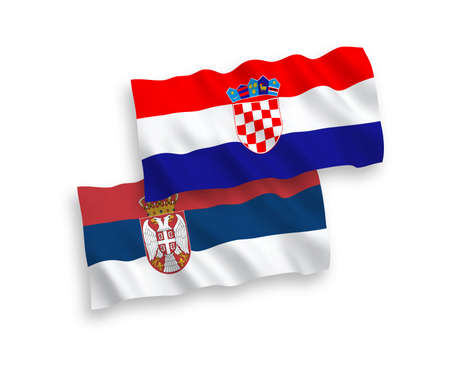 National vector fabric wave flags of Croatia and Serbia isolated on white background. 1 to 2 proportion.