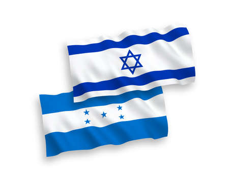 National vector fabric wave flags of Honduras and Israel isolated on white background. 1 to 2 proportion. Illustration