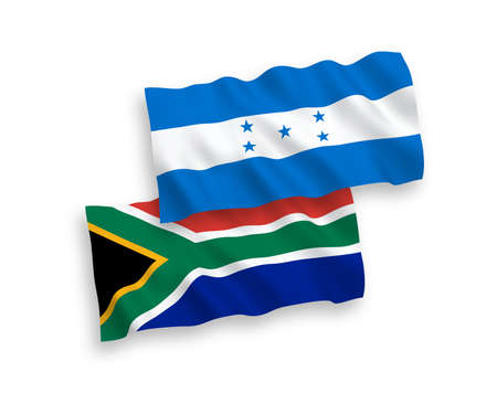 National vector fabric wave flags of Honduras and Republic of South Africa isolated on white background. 1 to 2 proportion.