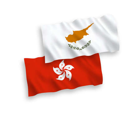 National vector fabric wave flags of Cyprus and Hong Kong isolated on white background. 1 to 2 proportion.