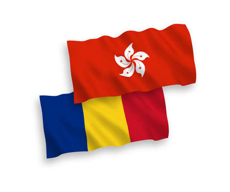 National vector fabric wave flags of Romania and Hong Kong isolated on white background. 1 to 2 proportion.
