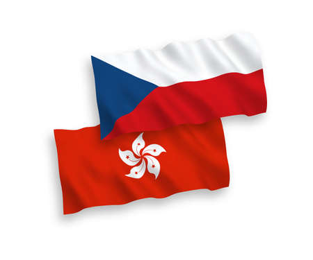 National vector fabric wave flags of Czech Republic and Hong Kong isolated on white background. 1 to 2 proportion.
