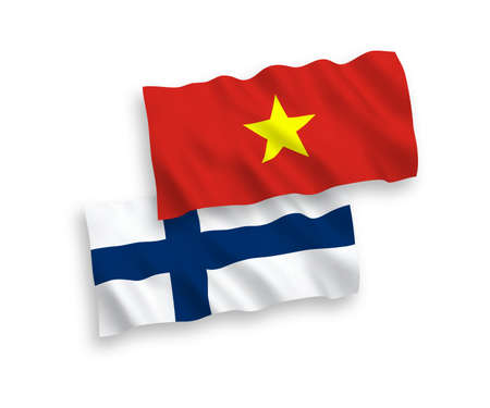 National vector fabric wave flags of Finland and Vietnam isolated on white background. 1 to 2 proportion.