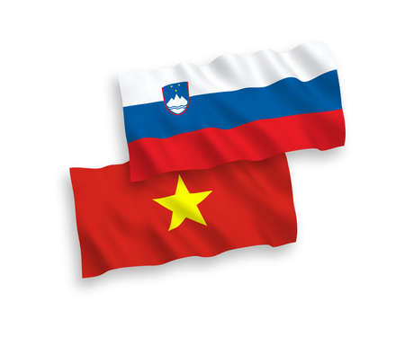 National vector fabric wave flags of Slovenia and Vietnam isolated on white background. 1 to 2 proportion.