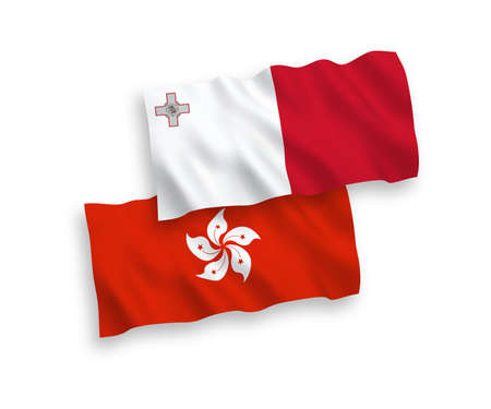 National vector fabric wave flags of Malta and Hong Kong isolated on white background. 1 to 2 proportion.