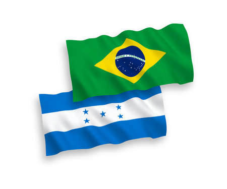 National vector fabric wave flags of Brazil and Honduras isolated on white background. 1 to 2 proportion. Illustration