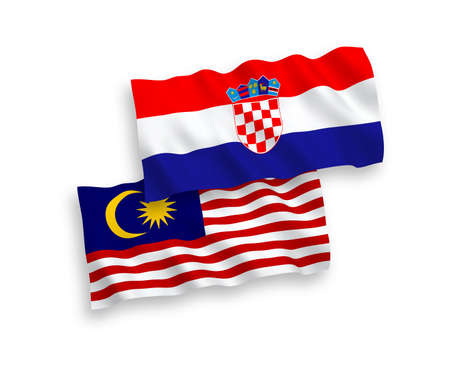 National vector fabric wave flags of Croatia and Malaysia isolated on white background. 1 to 2 proportion. Ilustração