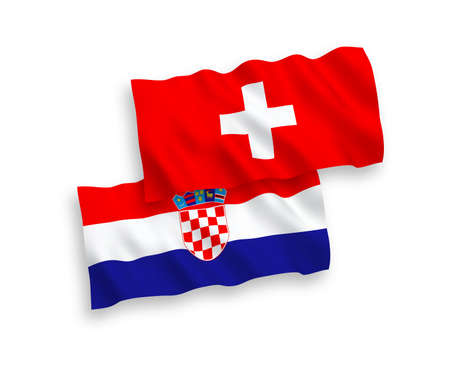 National vector fabric wave flags of Croatia and Switzerland isolated on white background. 1 to 2 proportion. Ilustração