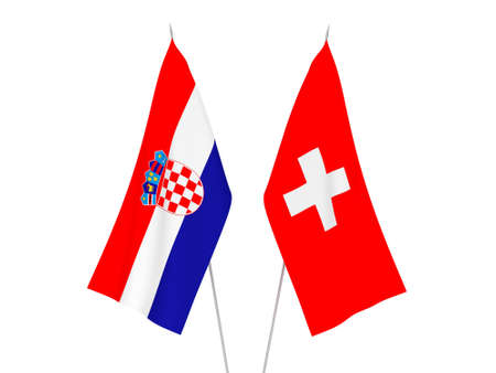 National fabric flags of Croatia and Switzerland isolated on white background. 3d rendering illustration.