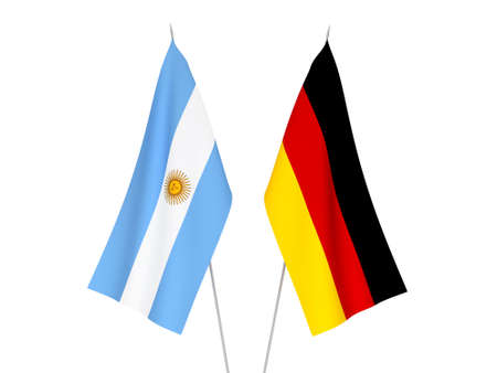 National fabric flags of Germany and Argentina isolated on white background. 3d rendering illustration.