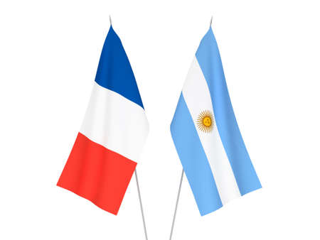 National fabric flags of France and Argentina isolated on white background. 3d rendering illustration.