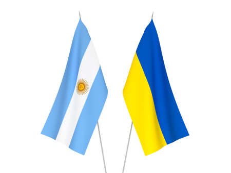 National fabric flags of Ukraine and Argentina isolated on white background. 3d rendering illustration.