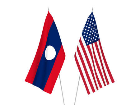 National fabric flags of America and Laos isolated on white background. 3d rendering illustration.