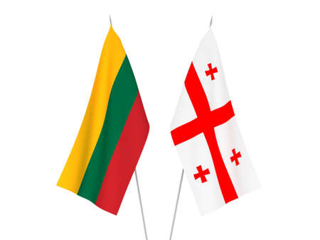 National fabric flags of Lithuania and Georgia isolated on white background. 3d rendering illustration. Stok Fotoğraf