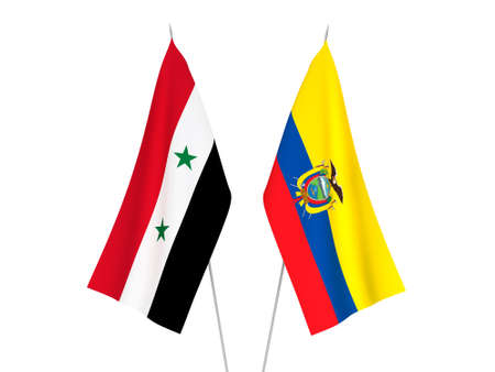 National fabric flags of Ecuador and Syria isolated on white background. 3d rendering illustration. Stok Fotoğraf