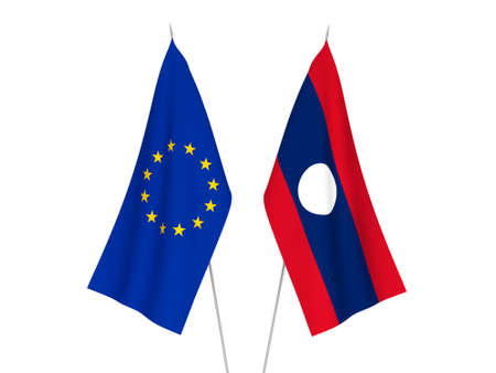 National fabric flags of European Union and Laos isolated on white background. 3d rendering illustration.
