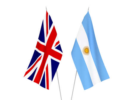 National fabric flags of Great Britain and Argentina isolated on white background. 3d rendering illustration.