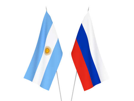 National fabric flags of Russia and Argentina isolated on white background. 3d rendering illustration. Stok Fotoğraf