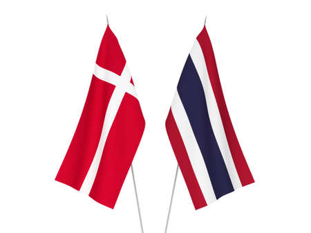 National fabric flags of Thailand and Denmark isolated on white background. 3d rendering illustration.
