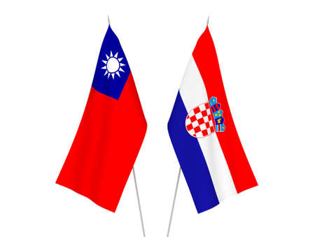 National fabric flags of Croatia and Taiwan isolated on white background. 3d rendering illustration. Imagens