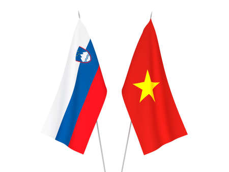 National fabric flags of Slovenia and Vietnam isolated on white background. 3d rendering illustration. Stok Fotoğraf