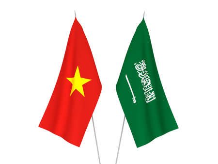 National fabric flags of Saudi Arabia and Vietnam isolated on white background. 3d rendering illustration.