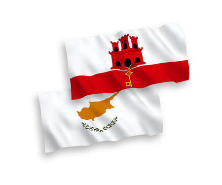 National vector fabric wave flags of Cyprus and Gibraltar isolated on white background. 1 to 2 proportion. Illustration
