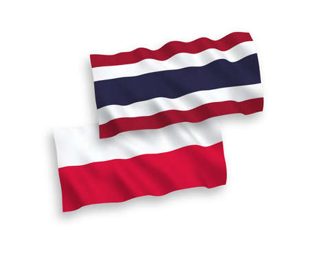 National vector fabric wave flags of Thailand and Poland isolated on white background. 1 to 2 proportion.