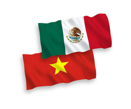 National vector fabric wave flags of Mexico and Vietnam isolated on white background. 1 to 2 proportion.