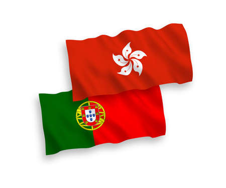 National vector fabric wave flags of Portugal and Hong Kong isolated on white background. 1 to 2 proportion.