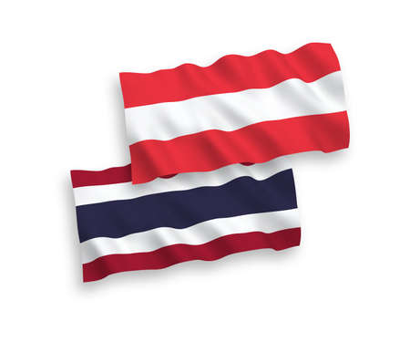 National vector fabric wave flags of Austria and Thailand isolated on white background. 1 to 2 proportion. Illustration