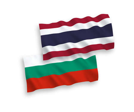 National vector fabric wave flags of Bulgaria and Thailand isolated on white background. 1 to 2 proportion.