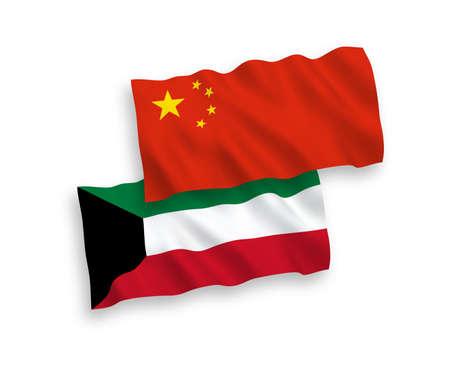 National vector fabric wave flags of Kuwait and China isolated on white background 1 to 2 proportion.