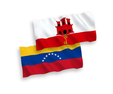 National vector fabric wave flags of Venezuela and Gibraltar isolated on white background. 1 to 2 proportion.